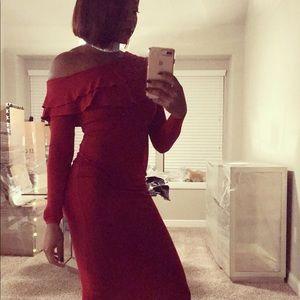 Red Midi Length Off The Shoulder Dress